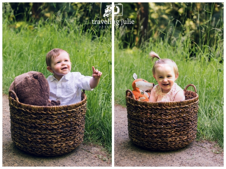 twin one year olds in basket