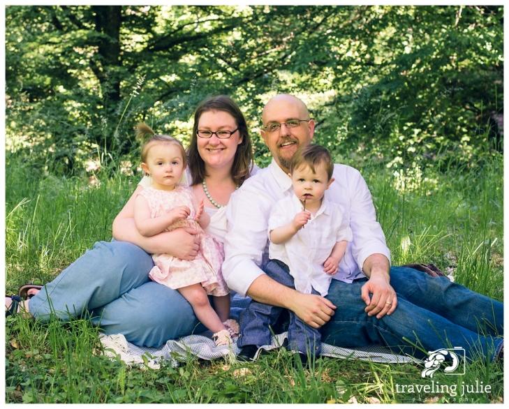 family portrait of twins