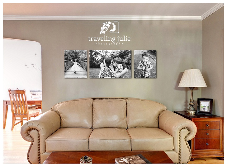 black and white family photos in living room