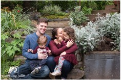 Family together on garden steps by Traveling Julie Photography